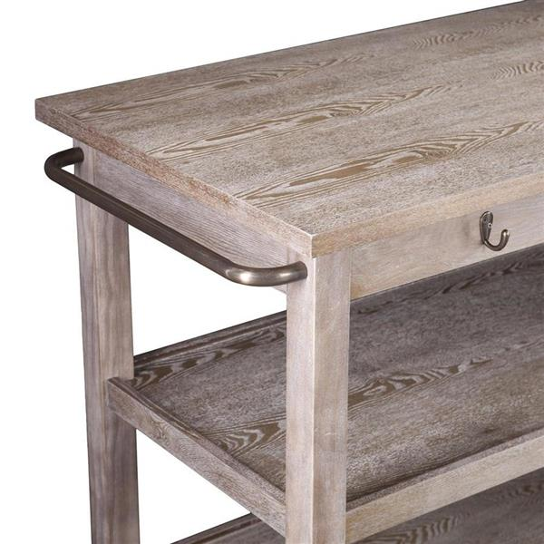 Boston Loft Furnishings 27-in x 46.50-in Farmhouse Brown Rubberwood Kitchen Cart With Laminate Counter top