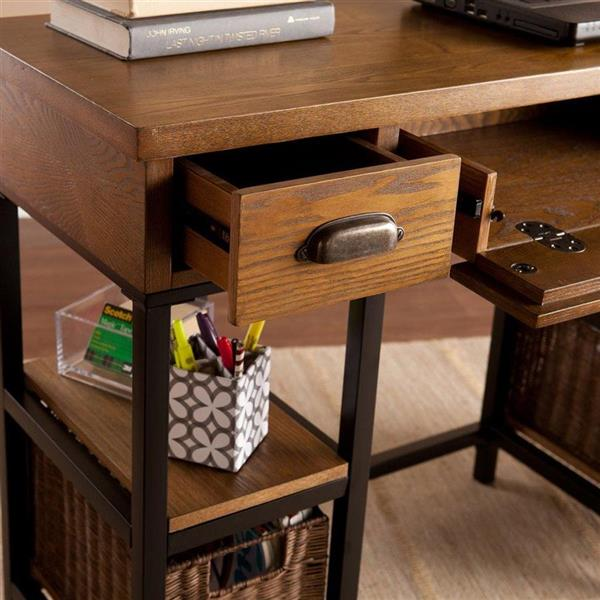 Boston Loft Furnishings Mira Brown 3-Drawer Computer Desk