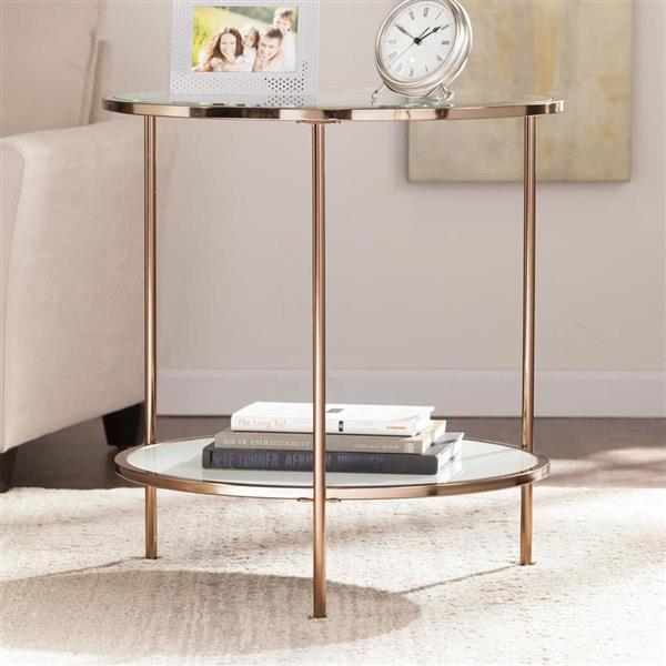 Boston Loft Furnishings Riku 24.25-in x 24.25-in x 26.25-in Gold Glass Modern End Table