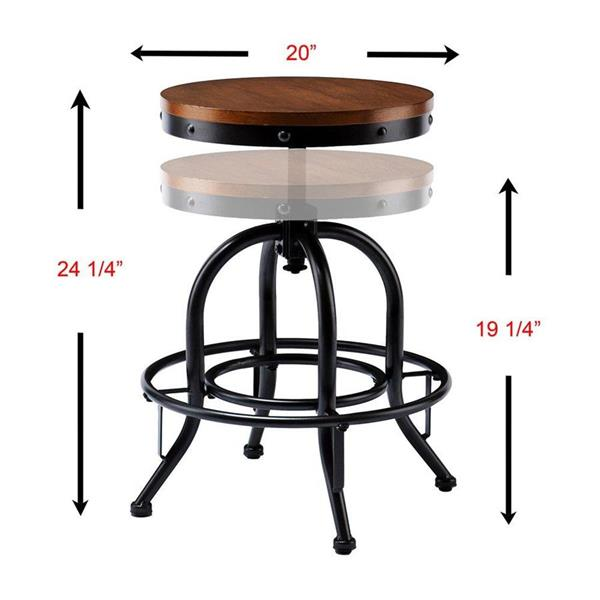 Boston Loft Furnishings Alex 19-in Black Adjustable Industrial Stool