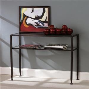Boston Loft Furnishings Clear Glass Industrial Sofa Table