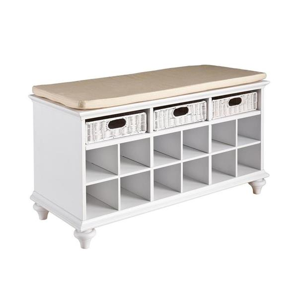 Boston Loft Furnishings Chelmsford Country White Storage Bench