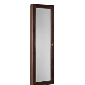 Boston Loft Furnishings Nina Oak 48.25-in x 14.50-in x 4.25-in Nina Walnut Wall-Mount Jewelry Armoire