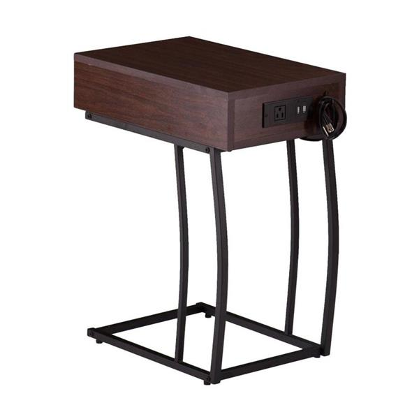 Boston Loft Furnishings Dina 12-in x 19.75-in x 23.25-in Dark Walnut Composite Modern End Table
