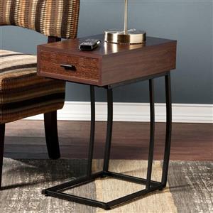 Boston Loft Furnishings Dina 12-in x 19.75-in x 23.25-in Dark Walnut Composite Modern End Table