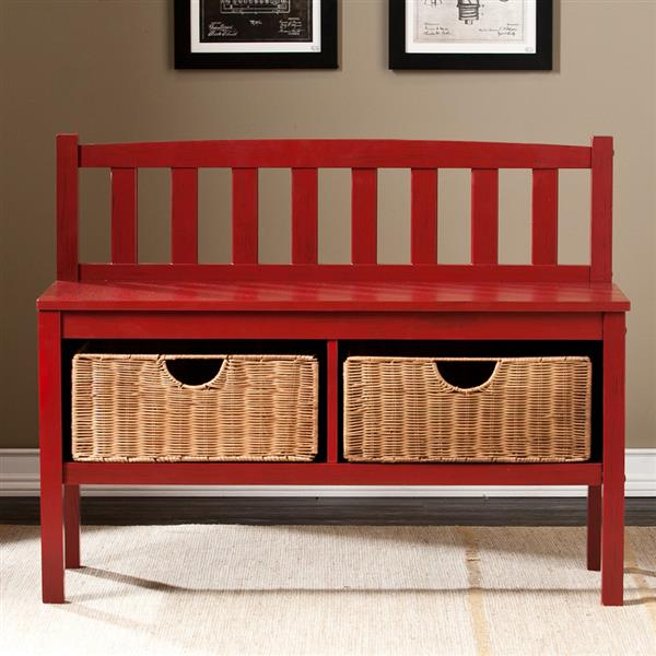 Boston Loft Furnishings Abbedale 30-lbs 28.50-in x 36-in x 14.25-In Casual Red Indoor Storage Bench With 2 Brown Rattan Baskets
