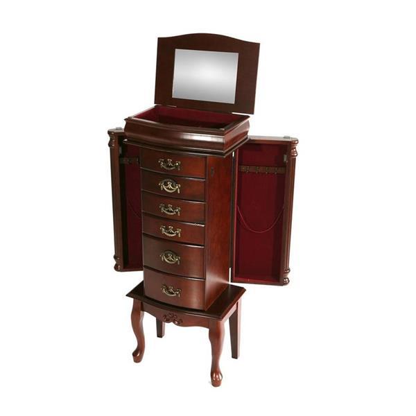 Boston Loft Furnishings Krista Mahogany 40-in x 15.75-in x 10.5-in Floorstanding Jewelry Armoire