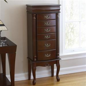 Boston Loft Furnishings Krista Mahogany 40-in x 15.75-in x 10.5-in Floorstanding Jewelry Armoire