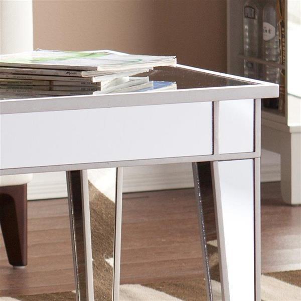 Boston Loft Furnishings Impression 42.25-in x 23.75-in x 20-in White Mirrored Fir Rectangular Coffee Table
