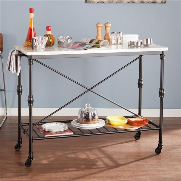Boston Loft Furnishings 21-in x 34.25-in Industrial Black Kitchen Cart With Faux Marble Top