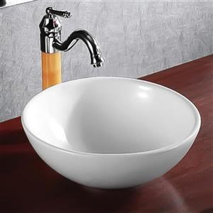 Nameeks Ceramic Vessel Round White Bathroom Sink