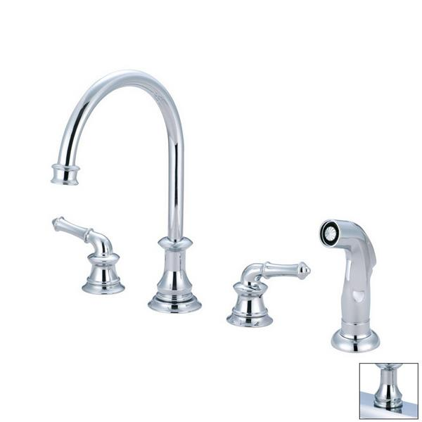 Pioneer Industries Del Mar Polished Chrome 11.5-in Lever-Handles Deck Mount High-Arc Kitchen Faucet with Sprayer
