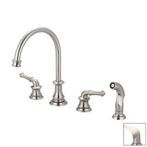 Pioneer Industries Del Mar Brushed Nickel 11.5-in Lever-Handles Deck Mount High-Arc Kitchen Faucet with Sprayer