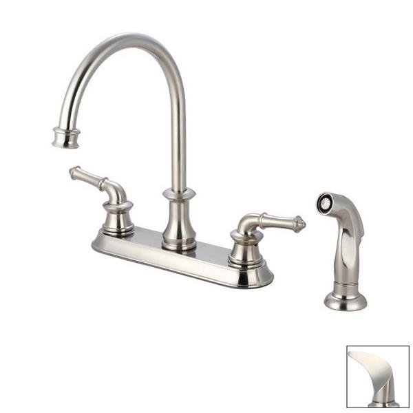 Pioneer Industries Del Mar Brushed Nickel 12-in Lever-Handle Deck Mount High-Arc Kitchen Faucet with Sprayer