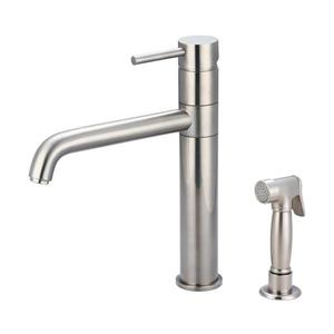 Pioneer Industries Motegi Brushed Nickel 11-in -Lever-Handle Deck Mount High-Arc Kitchen Faucet with Sprayer