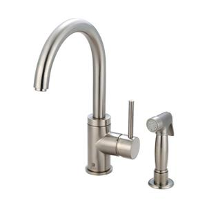Pioneer Industries Motegi Brushed Nickel 12.6-in Lever-Handle Deck Mount Pull Down Kitchen Faucet with Sprayer