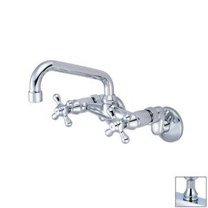 Pioneer Industries Premium Polished Chrome 6-in Cross-Handle Wall Mount Low-Arc Kitchen Faucet