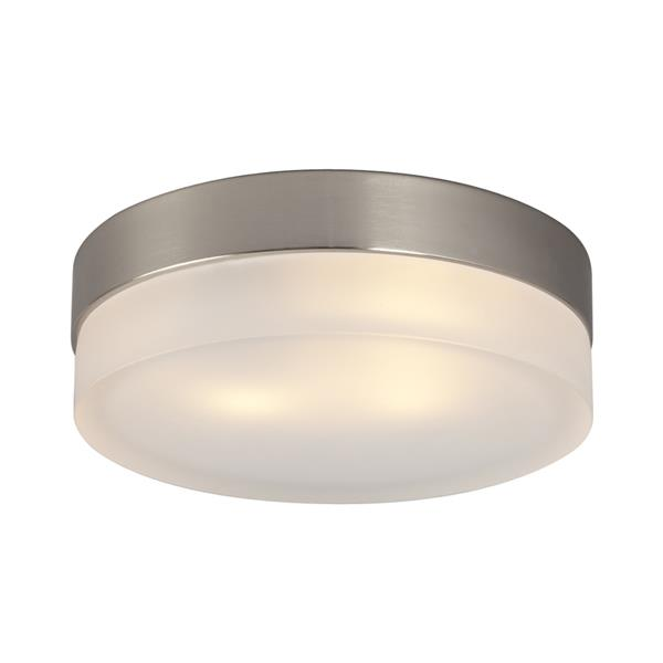Galaxy Quoizel Galaxy Lighting 9-in Brushed Nickel Flush Mount Light