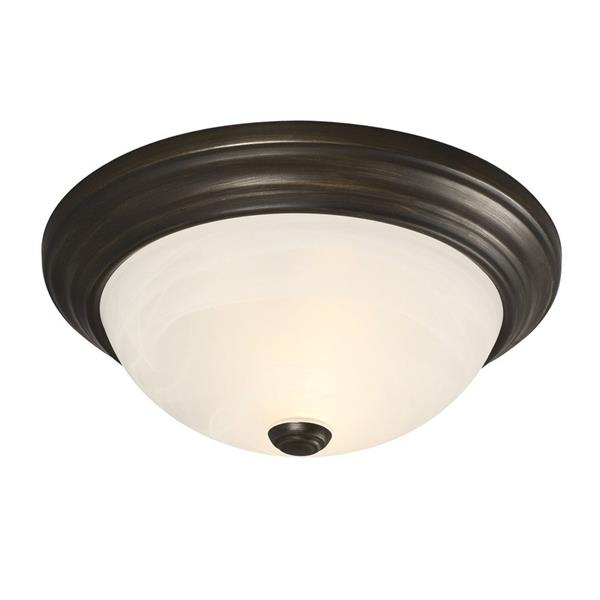 Galaxy Quoizel Galaxy Lighting 13.125-in Oil Rubbed Bronze Flush Mount Light