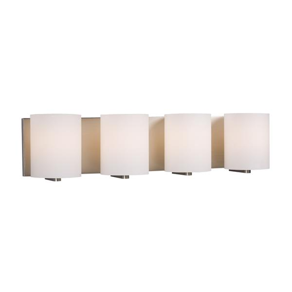 Galaxy Cyl 25.50-in x 6.25-in 4 Light Brushed Nickel Cylinder Vanity Light