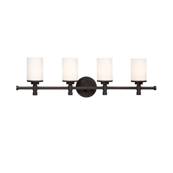 Galaxy Brighton 5-in x 32-in 4 Light Oil Rubbed Bronze Cylinder Vanity Light