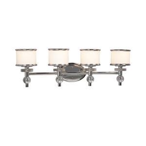 Galaxy Hilton 29.49-in x 9.18-in 4 Light Chrome Drum Vanity Light