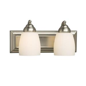 Galaxy Barclay 14-in x 6.75-in 2 Brushed Nickle Bell Vanity Light