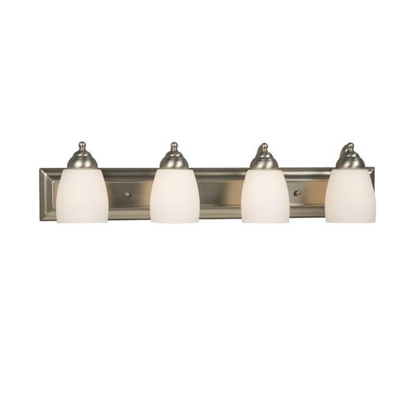 Galaxy Barclay 30-in x 6.75-in 4 Light Brushed Nickel Bell Vanity Light