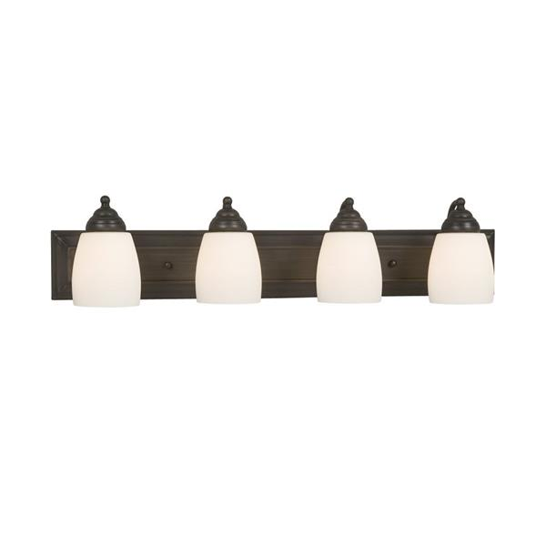 Galaxy Barclay 30-in x 6.75-in 4 Light Oil Rubbed Bronze Bell Vanity Light