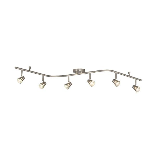 Galaxy 6-Light 61-in Brushed Nickel Dimmable Flexible Track Light With Brushed Nickel Glass