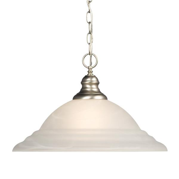 Galaxy Morgan 18-in x 11.5-in Pewter Transitional Bell Pendant Lighting