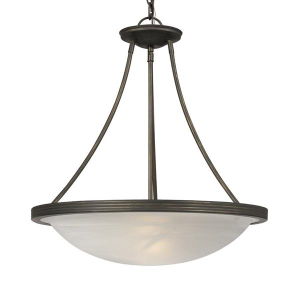 Galaxy Julian 19.12-in x 19.5-in Oil Rubbed Bronze Transitional Bowl Pendant Lighting