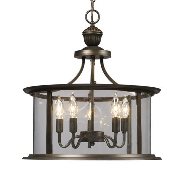Galaxy Huntington 18-in x 19.5-in Oil Rubbed Bronze Traditional Lantern Pendant Lighting