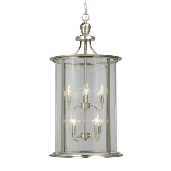 Galaxy Huntington 18-in x 35-in Brushed Nickel Clear Glass Traditional Lantern Pendant Lighting