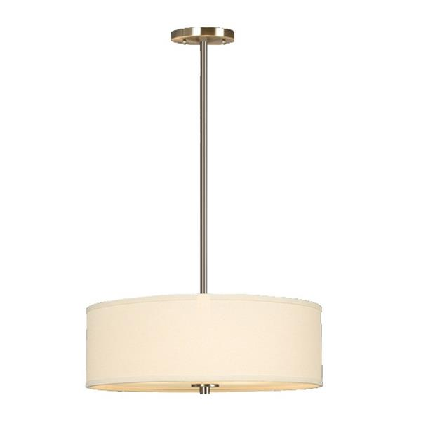 Galaxy Ansley 18-in Brushed Nickel Transitional Single Drum Pendant Lighting
