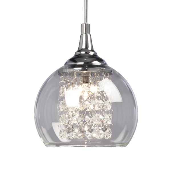 Galaxy Rihanna 5.87-in Polished Chrome Crystal Modern Dome Mini Pendant Lighting