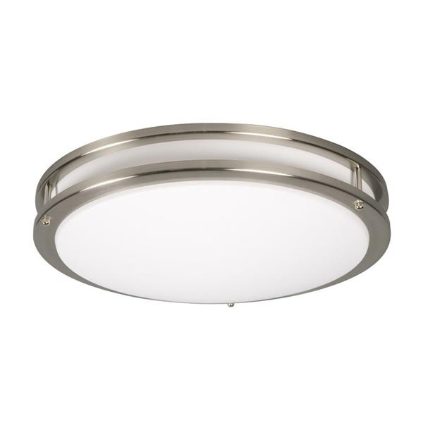 Galaxy 11.62-in Brushed Nickel Fluorescent Flush Mount Ceiling Light