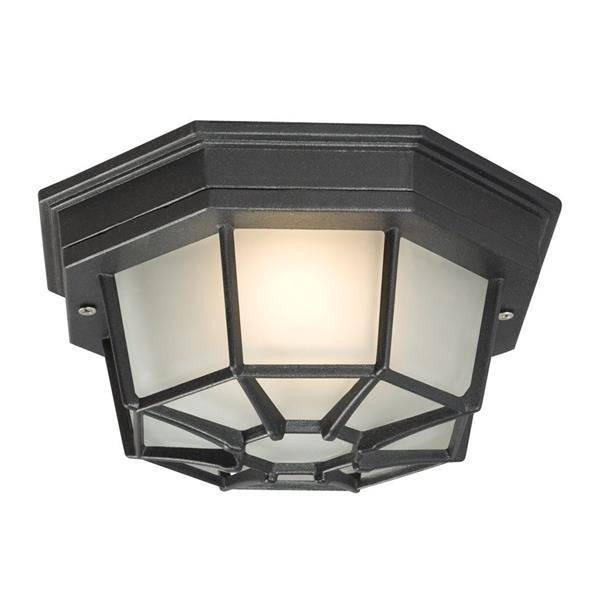 Galaxy 9.125-in Black 1-Light Outdoor Flush Mount Light Black/Frosted