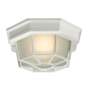 Galaxy 9-in White 1-Light Outdoor Flush Mount Light Textured White/Frosted