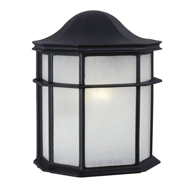 Galaxy 9.88-in Black Frosted Glass Outdoor Wall Light