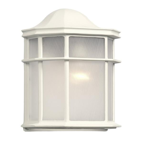 Galaxy 9.88-in White Frosted Glass Outdoor Wall Light