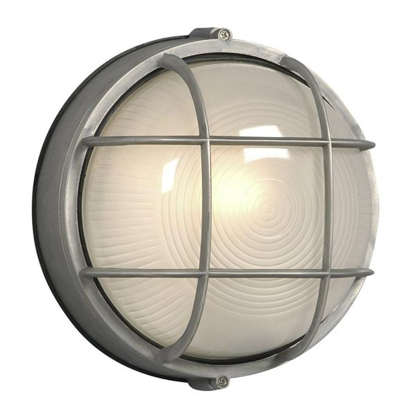 Galaxy Marine 10.25-in Satin Aluminum Frosted Glass Outdoor Wall Light