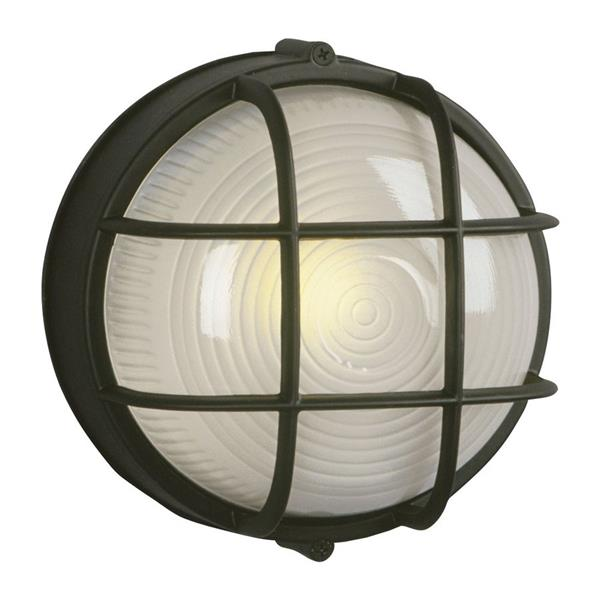 Galaxy Marine 7.125-in Black Caged Frosted Glass Outdoor Wall Light