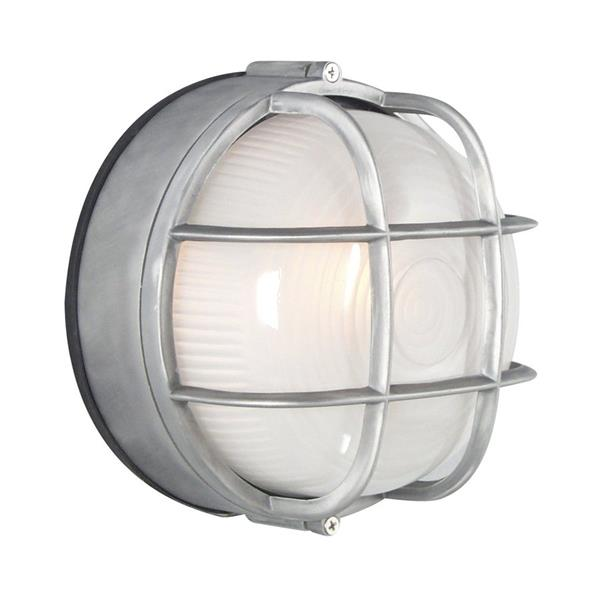 Galaxy Marine 7.125-in Satin Aluminum Caged Frosted Glass Outdoor Wall Light