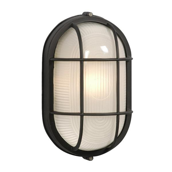 Galaxy Marine 11.125-in Black Frosted Glass Outdoor Wall Light