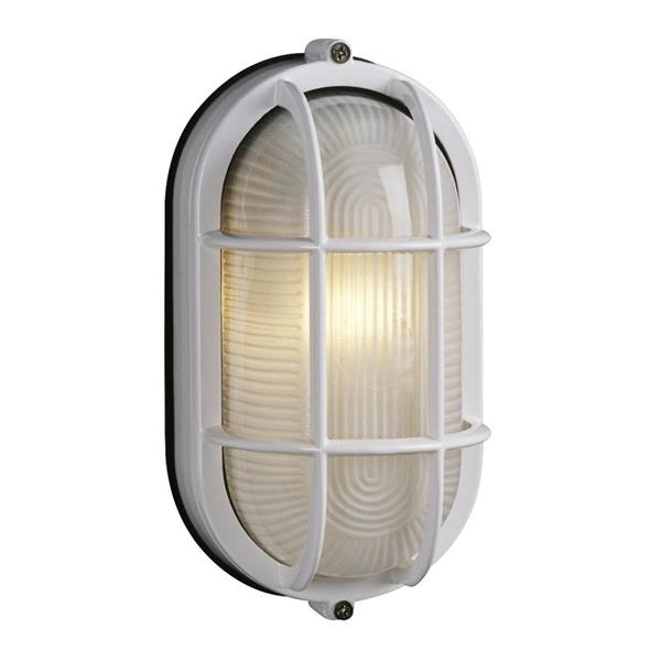 Galaxy Marine 8.375-in White Caged Frosted Glass Outdoor Wall Light