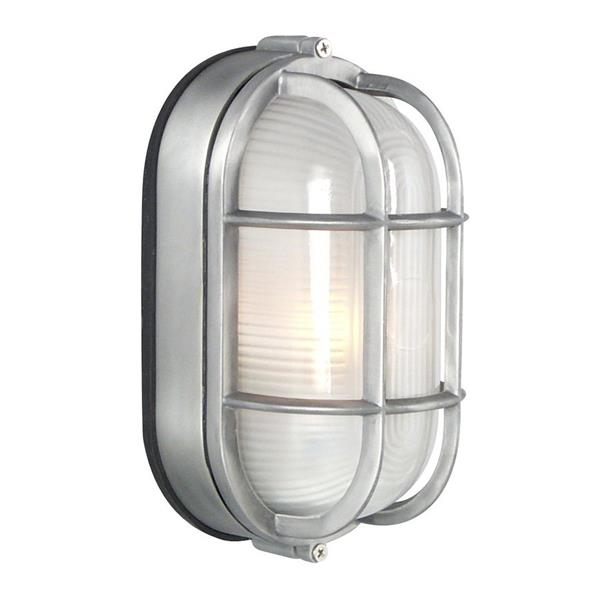 Galaxy Marine 8.375-in Satin Aluminum Caged Frosted Glass Outdoor Wall Light