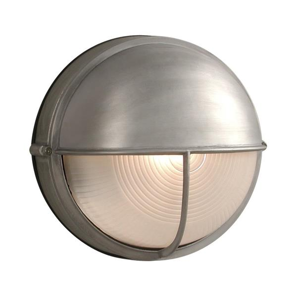 Galaxy Marine 10.25-in Satin Aluminum Hooded Frosted Glass Outdoor Wall Light