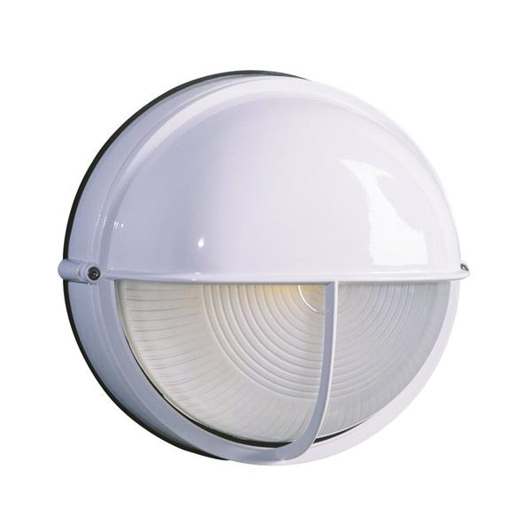 Galaxy Marine 10.25-in White Hooded Frosted Glass Outdoor Wall Light