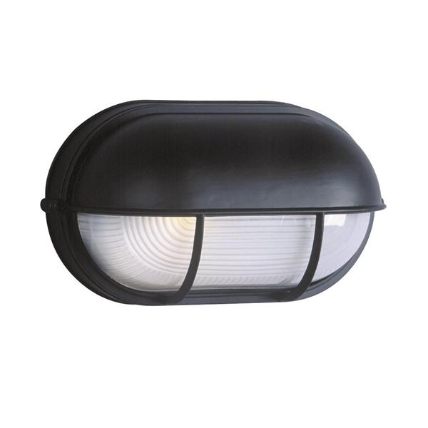 Galaxy Marine 6.5-in Black Hooded Frosted Glass Outdoor Wall Light